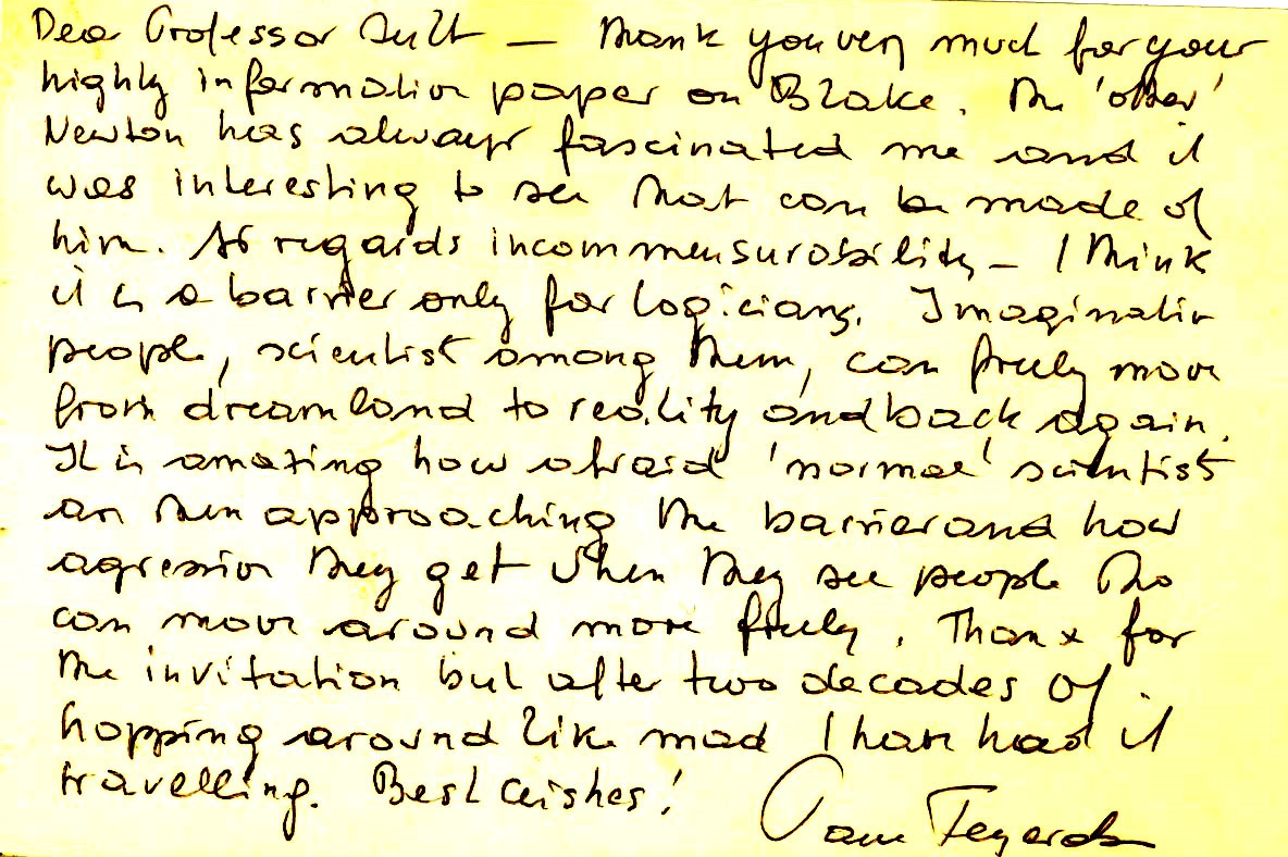 A facsimile of a note to Don written by Paul Feyerabend